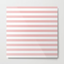 Blush & White Stripes Metal Print