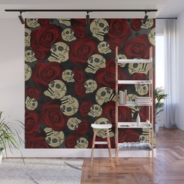 Red Roses & Skulls Grey Black Floral Gothic Wall Mural