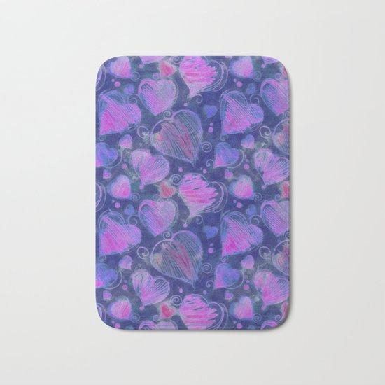 Deep pink and blue hand drawn hearts pattern Bath Mat