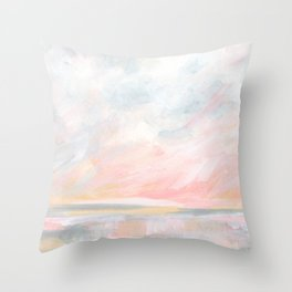 Overwhelm - Pink and Gray Pastel Seascape Throw Pillow