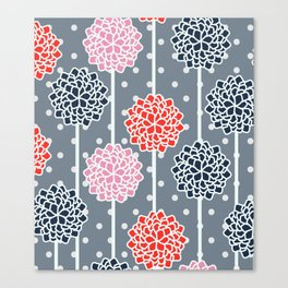 Blossom pattern with dots Canvas Print