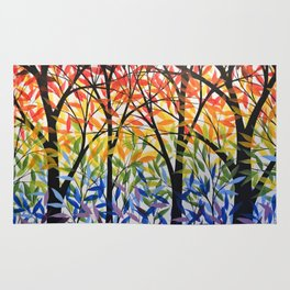 Abstract Art Original Landscape Painting ... Spectrum of Trees Rug