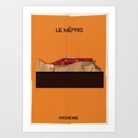 godard Art Prints featuring Le mépris directed by Jean-Luc Godard by federico babina