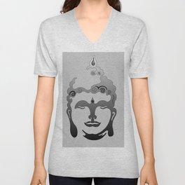 Buddha Head grey black Design Unisex V-Neck