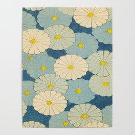 Shin-Bijutsukai – Japanese Design Blue Floral Pattern Poster