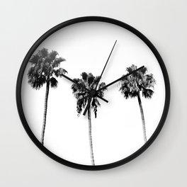 Black + White Palm Trees Wall Clock