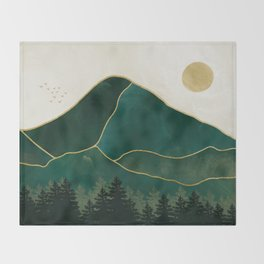 Mt Hood Emerald Mountain Abstract Throw Blanket