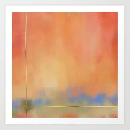 Abstract Landscape With Golden Lines Painting Art Print