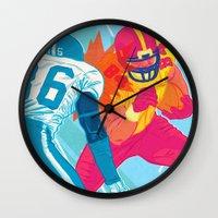 nfl Wall Clocks featuring American Football by felixdrewthis