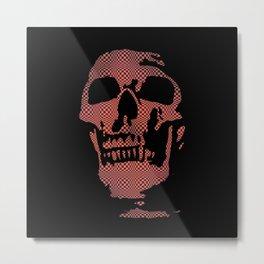 Red Optical Skull Metal Print
