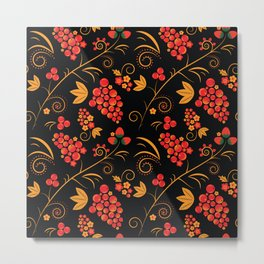 Traditional russian khokhloma print with berries and floral motives Metal Print