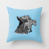 newspaper Throw Pillows featuring Newspaper Lions by Doolin