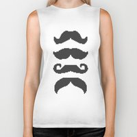 moustache Biker Tanks featuring Moustache by Jake  Williams