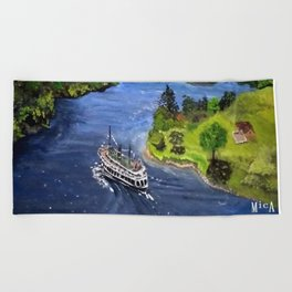 River Boat Journey Beach Towel