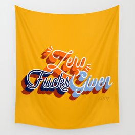 Zero F*cks Given – Yellow & Blue Palette Wall Tapestry