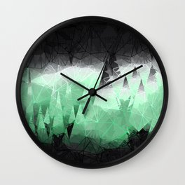 Modern Abstract Green Mountain Design Wall Clock