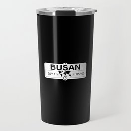Busan South Korea with World Map GPS Coordinates Travel Mug