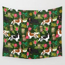 Cavalier King Charles Spaniel tiki hawaiian island tropical dog breed pattern dogs Wall Tapestry