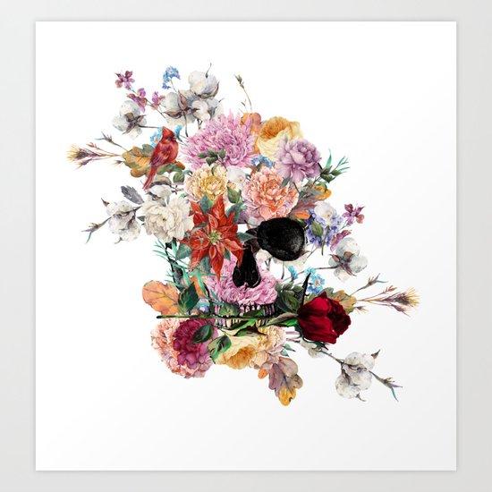 Skull and Flowers II Art Print