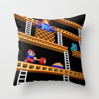 donkey kong Throw Pillows featuring Inside Donkey Kong stage 2 by Metin Seven