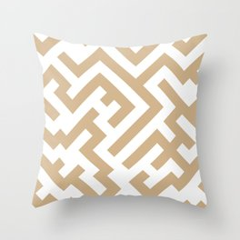 White and Tan Brown Diagonal Labyrinth Throw Pillow