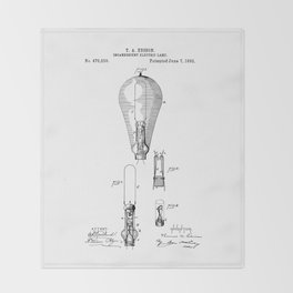 patent art Edison 1892 Incandescent electric lamp Throw Blanket