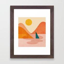 Abstraction_Lake_Sunset Framed Art Print