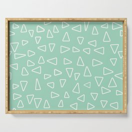 White open triangles at a soft, mint green background Serving Tray
