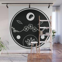 Floral Print Circle - Black on White Wall Mural