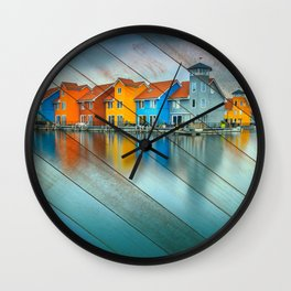 Faux Wood Blue Morning at Waters Edge Groningen Netherlands Europe Coastal Landscape Photograph Wall Clock