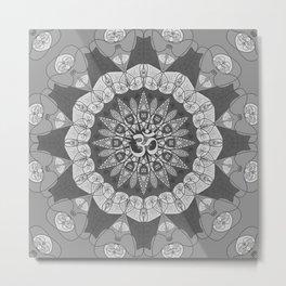 Mandala pattern gray yoga namaste floral om boho Metal Print