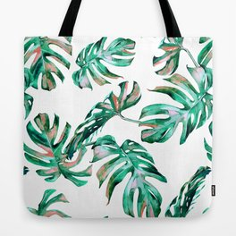 Green Coral Palm Leaves Tote Bag