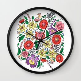 Hungarian embroidery motifs Wall Clock