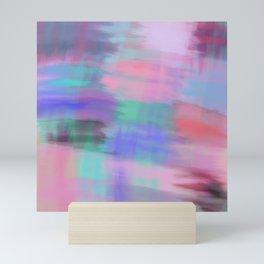 Modern pink lavender blue teal watercolor brushstrokes Mini Art Print