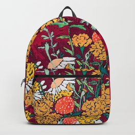 Marigold, Daisy and Wildflower Bouquet Fall Floral Still Life Painting on Eggplant Purple Backpack