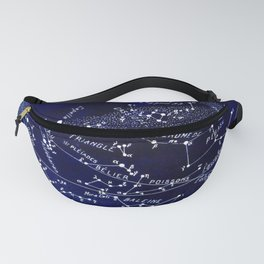 French December Star Map in Deep Navy & Black, Astronomy, Constellation, Celestial Fanny Pack