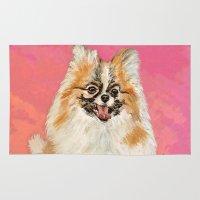 pomeranian Area & Throw Rugs featuring Twinki Gurl Pomeranian by gretzky