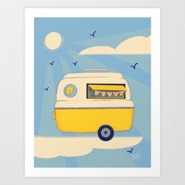 Food Stand Blue Print Art Print