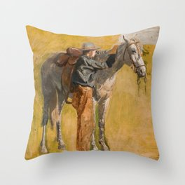 Cowboy: Study for Cowboys in the Badlands, 1887 Throw Pillow