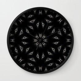 Weave the Web // Geometric Abstract Circular Pattern Minimal Black White Simple Minimalism Wall Clock
