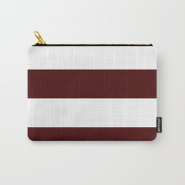 Wide Horizontal Stripes - White and Bulgarian Rose Red Carry-All Pouch