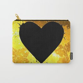Yellow Watercolor splashed heart texture Carry-All Pouch