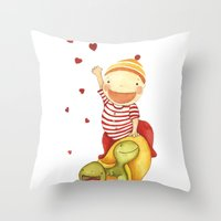 turtles Throw Pillows featuring turtles by La Bella Leonera