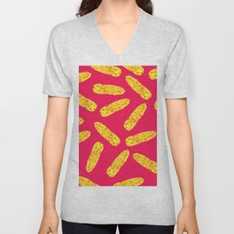 Funny Cute Hand Drawn Corn on the Cob on Neon PInk Unisex V-Neck