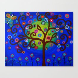 Whimsical Tree of Life Summer Dreams Painting Canvas Print
