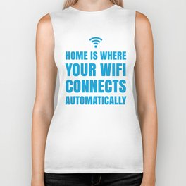 HOME IS WHERE YOUR WIFI CONNECTS AUTOMATICALLY (Blue) Biker Tank