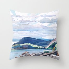Franklin Carmichael - Lake and Hills - Canada, Canadian Watercolor Painting - Group of Seven Throw Pillow