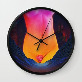 Vapor Lick - Nude / Naked Erotic Vaporware Collage Art Wall Clock