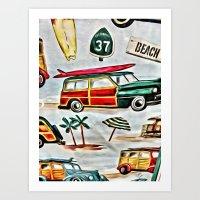 Old School Beach Time Art Print