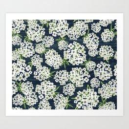 Alyssum - Navy & White Art Print